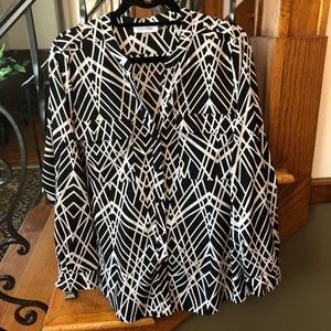 Calvin Klein Geometric Button Up Blouse Large